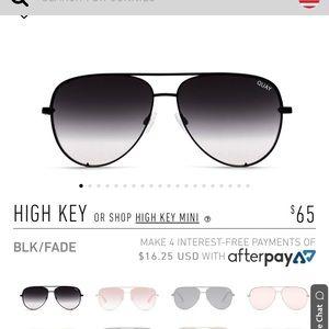 Quay High Key Black Sunglasses NWT